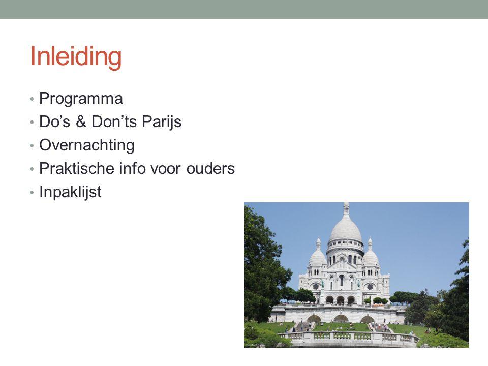 Programma (onder voorbehoud) Donderdag • 10.00 Bus zet ons af bij Mont Martre • 10.30-11.15 Bezoek Sacre Coeur • 13.45-14.45 Bezoek Pere Lachaise • 15.15-15.30 Wandeling naar Centre Pompidou • 15.30-16.45 Groep 1 Centre Pompidou • 16.00-17.15 Groep 2 Centre Pompidou • 16.30-17.45 Groep 3 Centre Pompidou • 17.45-19.30 Zelfstandig eten in de wijk le Marais • 19.30-21.00 Wandeling langs de Seine naar de Eiffeltoren • 21.00-22.30 In de Eiffeltoren • 22.30 Bus brengt ons terug naar het hotel