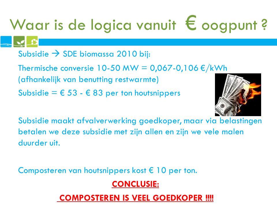 Waar is de logica vanuit € oogpunt ? Subsidie  SDE biomassa 2010 bij: Thermische conversie 10-50 MW = 0,067-0,106 €/kWh (afhankelijk van benutting re