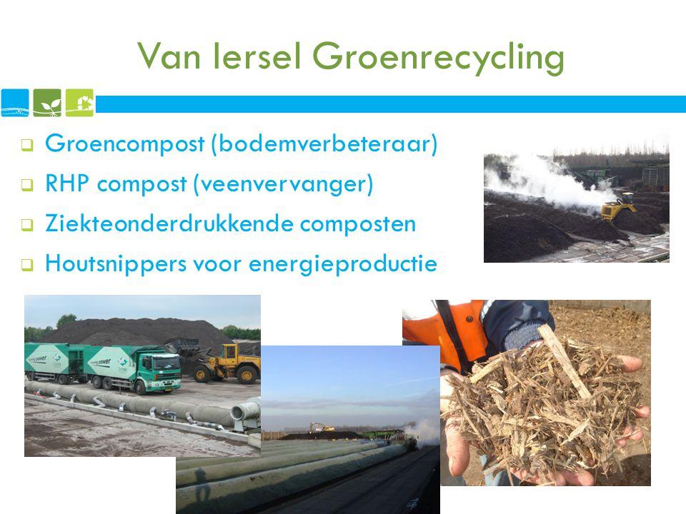 Van Iersel Groenrecycling  Groencompost (bodemverbeteraar)  RHP compost (veenvervanger)  Ziekteonderdrukkende composten  Houtsnippers voor energie