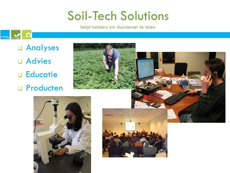 Soil-Tech Solutions helpt tuinders om duurzamer te telen  Analyses  Advies  Educatie  Producten