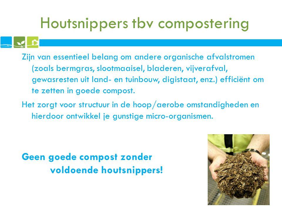 Houtsnippers tbv compostering Zijn van essentieel belang om andere organische afvalstromen (zoals bermgras, slootmaaisel, bladeren, vijverafval, gewas