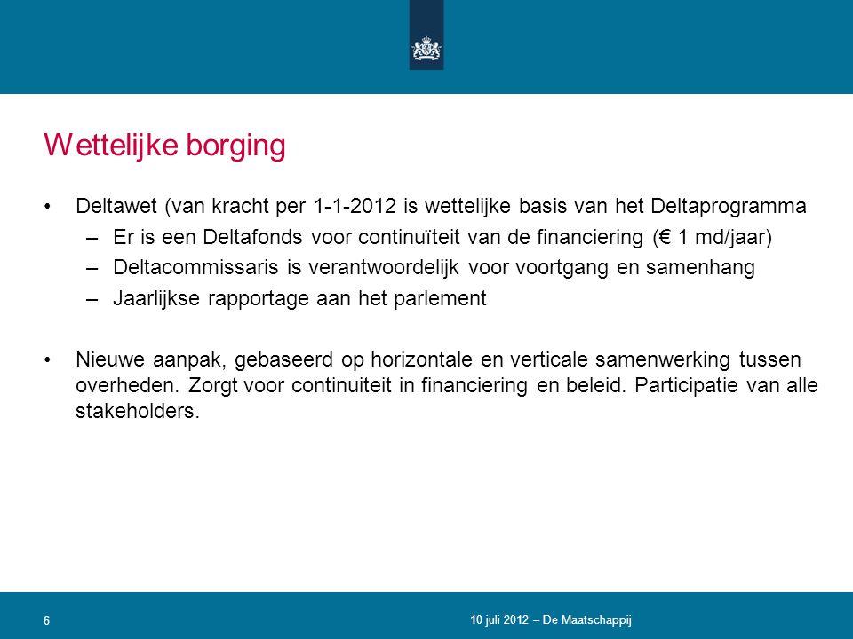 Wettelijke borging •Deltawet (van kracht per 1-1-2012 is wettelijke basis van het Deltaprogramma –Er is een Deltafonds voor continuïteit van de financ