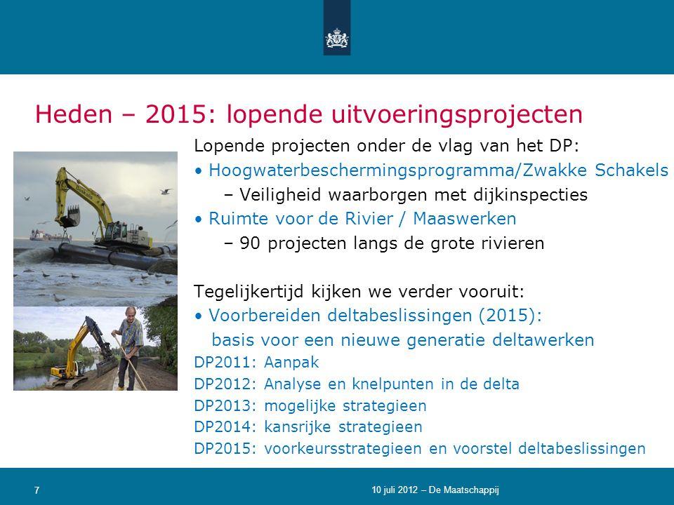 Heden – 2015: lopende uitvoeringsprojecten Lopende projecten onder de vlag van het DP: • Hoogwaterbeschermingsprogramma/Zwakke Schakels – Veiligheid w