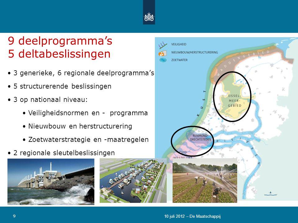 9 • 3 generieke, 6 regionale deelprogramma's • 5 structurerende beslissingen • 3 op nationaal niveau: • Veiligheidsnormen en - programma • Nieuwbouw e