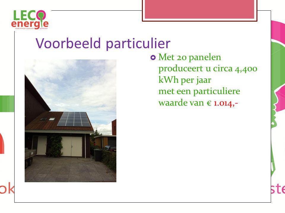 Voorbeeld particulier  Met 20 panelen produceert u circa 4,400 kWh per jaar met een particuliere waarde van € 1.014,-