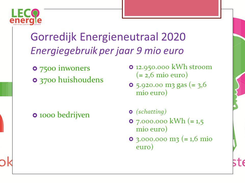 Gorredijk Energieneutraal 2020 Energiegebruik per jaar 9 mio euro  7500 inwoners  3700 huishoudens  1000 bedrijven  12.950.000 kWh stroom (= 2,6 mio euro)  5.920.00 m3 gas (= 3,6 mio euro)  (schatting)  7.000.000 kWh (= 1,5 mio euro)  3.000.000 m3 (= 1,6 mio euro)