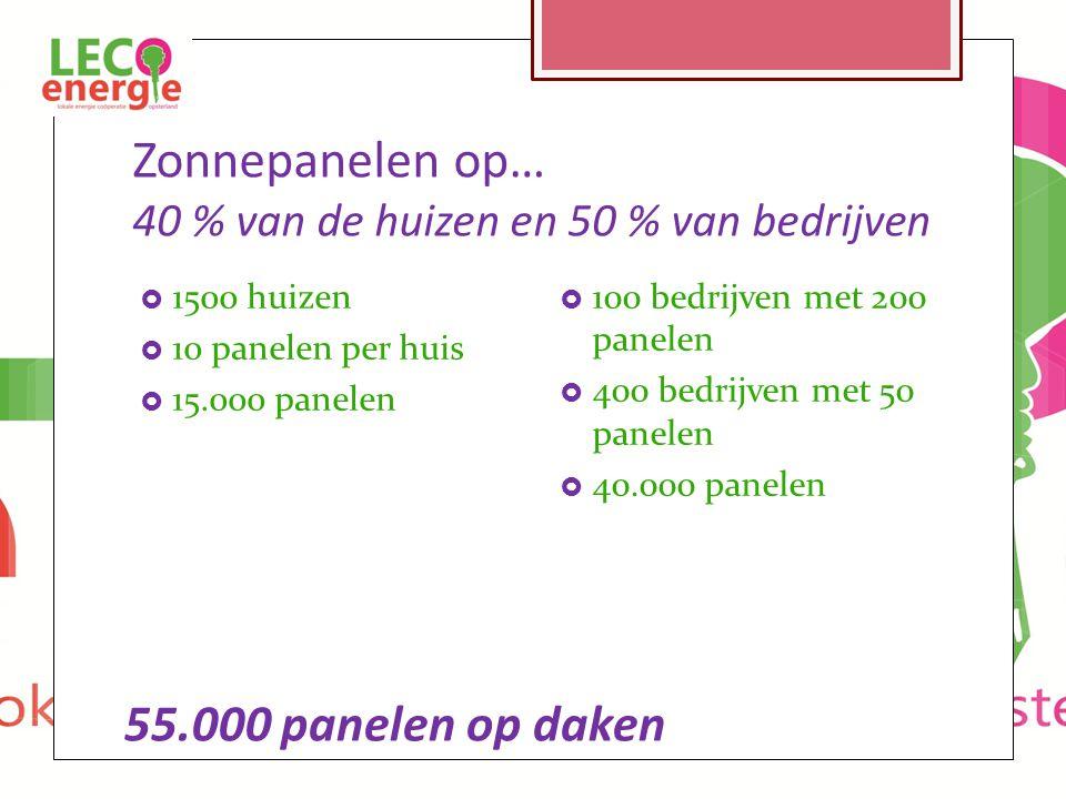 Zonnepanelen op… 40 % van de huizen en 50 % van bedrijven  1500 huizen  10 panelen per huis  15.000 panelen  100 bedrijven met 200 panelen  400 bedrijven met 50 panelen  40.000 panelen 55.000 panelen op daken