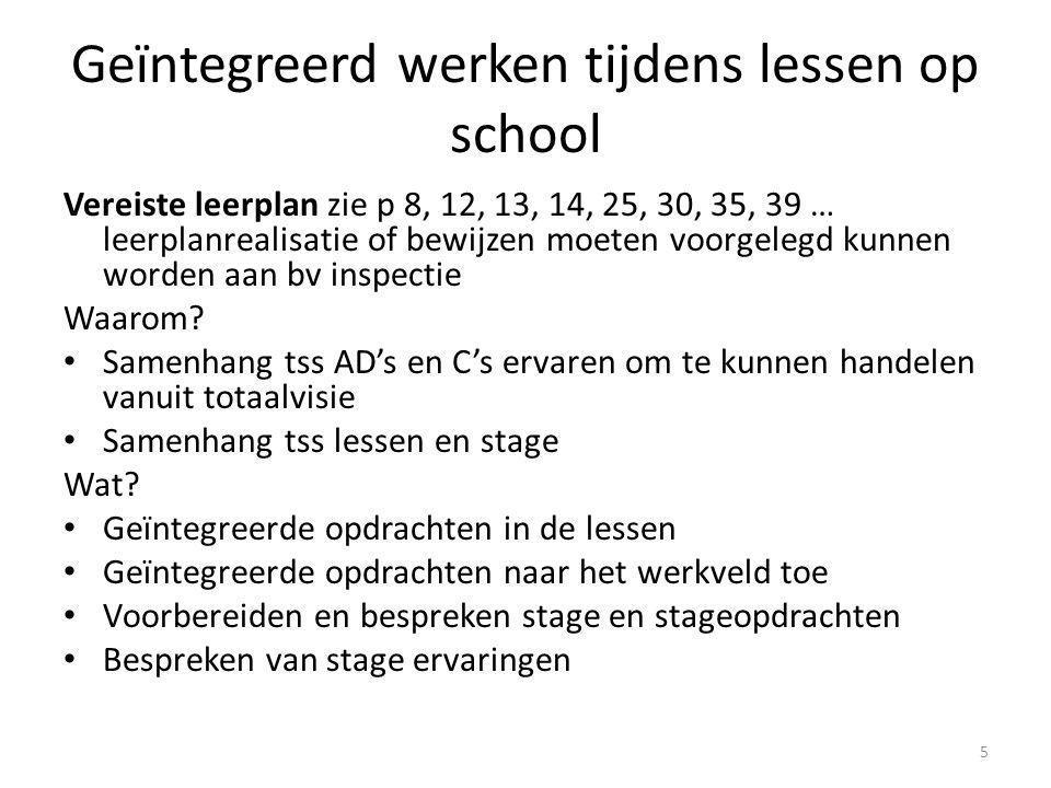 Geïntegreerd werken tijdens lessen op school Vereiste leerplan zie p 8, 12, 13, 14, 25, 30, 35, 39 … leerplanrealisatie of bewijzen moeten voorgelegd kunnen worden aan bv inspectie Waarom.