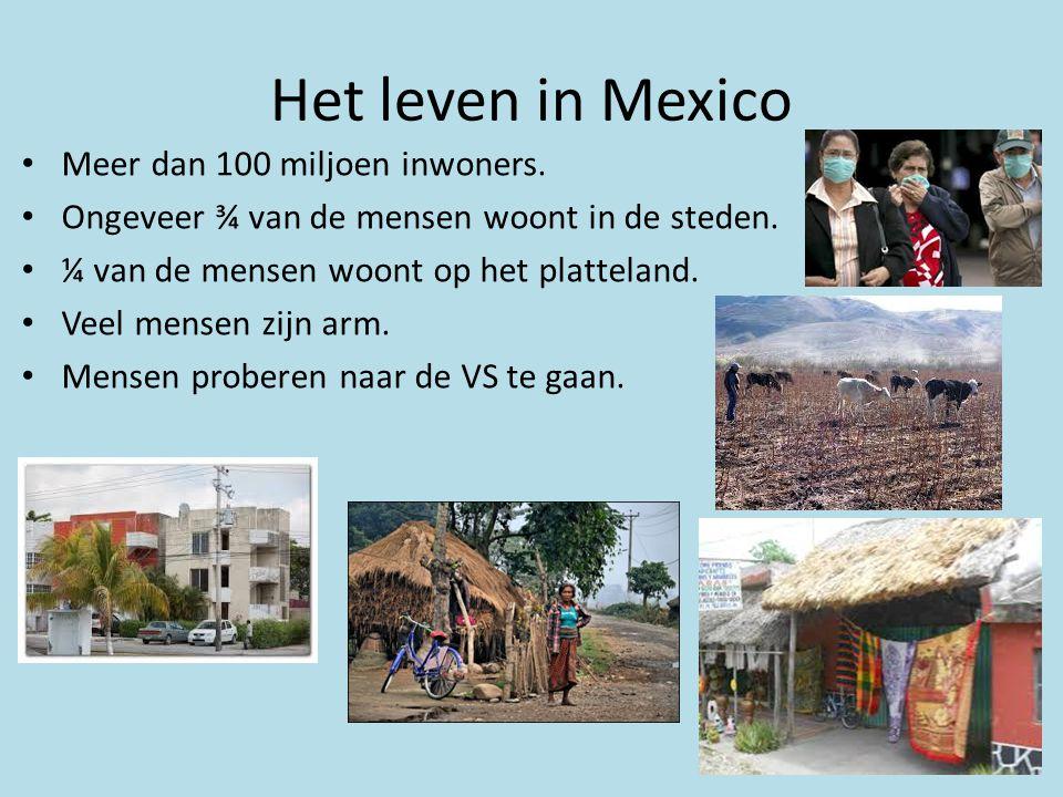 Het leven in Mexico • Meer dan 100 miljoen inwoners. • Ongeveer ¾ van de mensen woont in de steden. • ¼ van de mensen woont op het platteland. • Veel