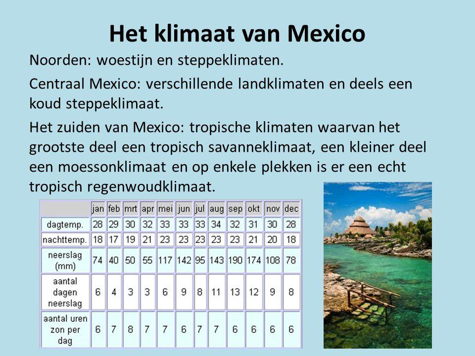 Het klimaat van Mexico Noorden: woestijn en steppeklimaten. Centraal Mexico: verschillende landklimaten en deels een koud steppeklimaat. Het zuiden va