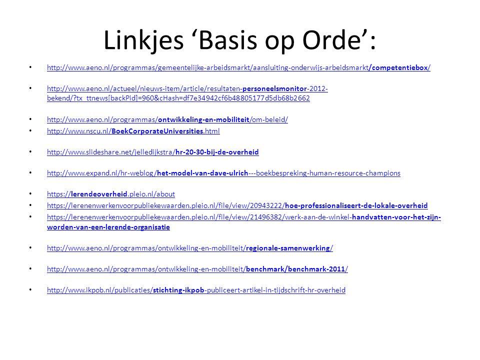 Linkjes 'Basis op Orde': • http://www.aeno.nl/programmas/gemeentelijke-arbeidsmarkt/aansluiting-onderwijs-arbeidsmarkt/competentiebox/ http://www.aeno.nl/programmas/gemeentelijke-arbeidsmarkt/aansluiting-onderwijs-arbeidsmarkt/competentiebox/ • http://www.aeno.nl/actueel/nieuws-item/article/resultaten-personeelsmonitor-2012- bekend/?tx_ttnews[backPid]=960&cHash=df7e34942cf6b48805177d5db68b2662 http://www.aeno.nl/actueel/nieuws-item/article/resultaten-personeelsmonitor-2012- bekend/?tx_ttnews[backPid]=960&cHash=df7e34942cf6b48805177d5db68b2662 • http://www.aeno.nl/programmas/ontwikkeling-en-mobiliteit/om-beleid/ http://www.aeno.nl/programmas/ontwikkeling-en-mobiliteit/om-beleid/ • http://www.nscu.nl/BoekCorporateUniversities.html http://www.nscu.nl/BoekCorporateUniversities.html • http://www.slideshare.net/jelledijkstra/hr-20-30-bij-de-overheid http://www.slideshare.net/jelledijkstra/hr-20-30-bij-de-overheid • http://www.expand.nl/hr-weblog/het-model-van-dave-ulrich---boekbespreking-human-resource-champions http://www.expand.nl/hr-weblog/het-model-van-dave-ulrich---boekbespreking-human-resource-champions • https://lerendeoverheid.pleio.nl/about https://lerendeoverheid.pleio.nl/about • https://lerenenwerkenvoorpubliekewaarden.pleio.nl/file/view/20943222/hoe-professionaliseert-de-lokale-overheid https://lerenenwerkenvoorpubliekewaarden.pleio.nl/file/view/20943222/hoe-professionaliseert-de-lokale-overheid • https://lerenenwerkenvoorpubliekewaarden.pleio.nl/file/view/21496382/werk-aan-de-winkel-handvatten-voor-het-zijn- worden-van-een-lerende-organisatie https://lerenenwerkenvoorpubliekewaarden.pleio.nl/file/view/21496382/werk-aan-de-winkel-handvatten-voor-het-zijn- worden-van-een-lerende-organisatie • http://www.aeno.nl/programmas/ontwikkeling-en-mobiliteit/regionale-samenwerking/ http://www.aeno.nl/programmas/ontwikkeling-en-mobiliteit/regionale-samenwerking/ • http://www.aeno.nl/programmas/ontwikkeling-en-mobiliteit/benchmark/benchmark-2011/ http://www.aeno.nl/program