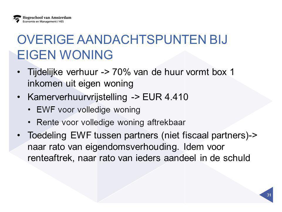OVERIGE AANDACHTSPUNTEN BIJ EIGEN WONING •Tijdelijke verhuur -> 70% van de huur vormt box 1 inkomen uit eigen woning •Kamerverhuurvrijstelling -> EUR
