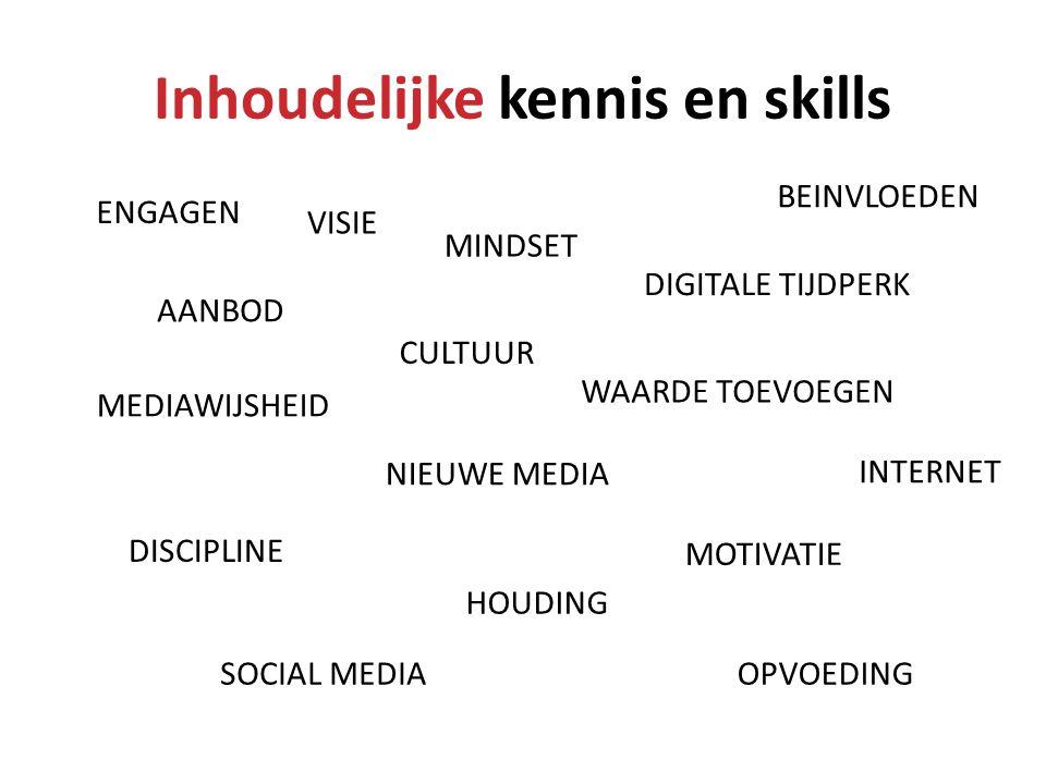 Inhoudelijke kennis en skills VISIE MINDSET HOUDING DISCIPLINE MOTIVATIE INTERNET SOCIAL MEDIA NIEUWE MEDIA DIGITALE TIJDPERK MEDIAWIJSHEID CULTUUR OP