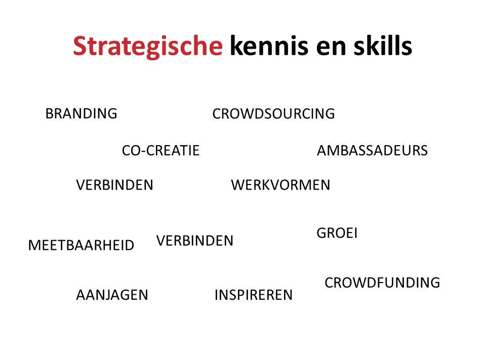 Strategische kennis en skills WERKVORMENVERBINDEN CO-CREATIE CROWDSOURCING CROWDFUNDING VERBINDEN AANJAGENINSPIREREN AMBASSADEURS GROEI MEETBAARHEID B