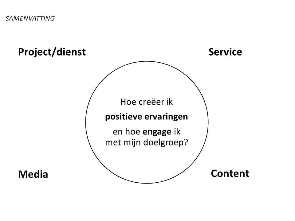 Service Content Media Project/dienst Hoe creëer ik positieve ervaringen en hoe engage ik met mijn doelgroep? SAMENVATTING