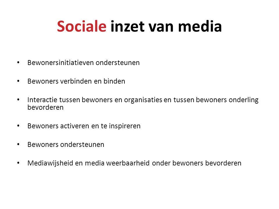Sociale inzet van media • Bewonersinitiatieven ondersteunen • Bewoners verbinden en binden • Interactie tussen bewoners en organisaties en tussen bewo
