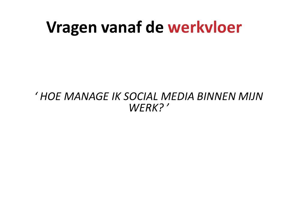 Vragen vanaf de werkvloer ' HOE MANAGE IK SOCIAL MEDIA BINNEN MIJN WERK? '