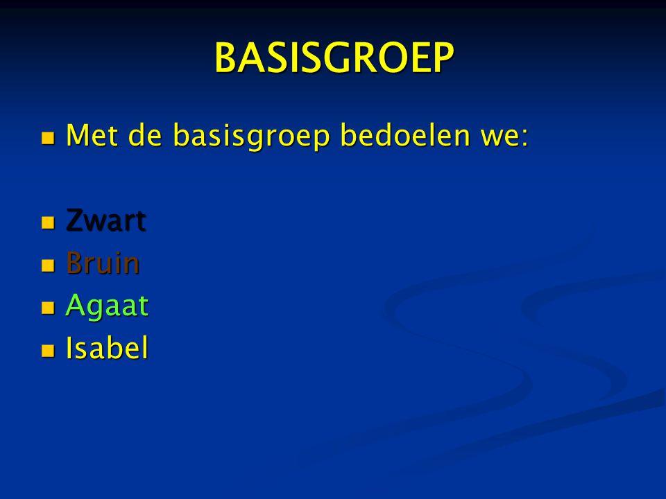 BASISGROEP  Met de basisgroep bedoelen we:  Zwart  Bruin  Agaat  Isabel