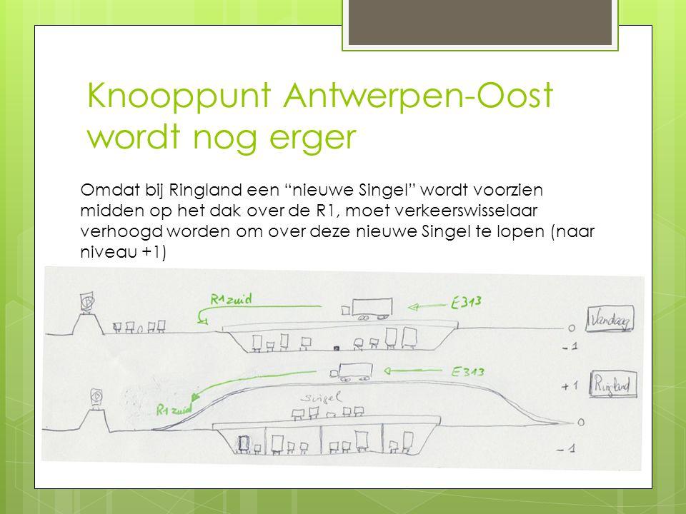 """Knooppunt Antwerpen-Oost wordt nog erger Omdat bij Ringland een """"nieuwe Singel"""" wordt voorzien midden op het dak over de R1, moet verkeerswisselaar ve"""