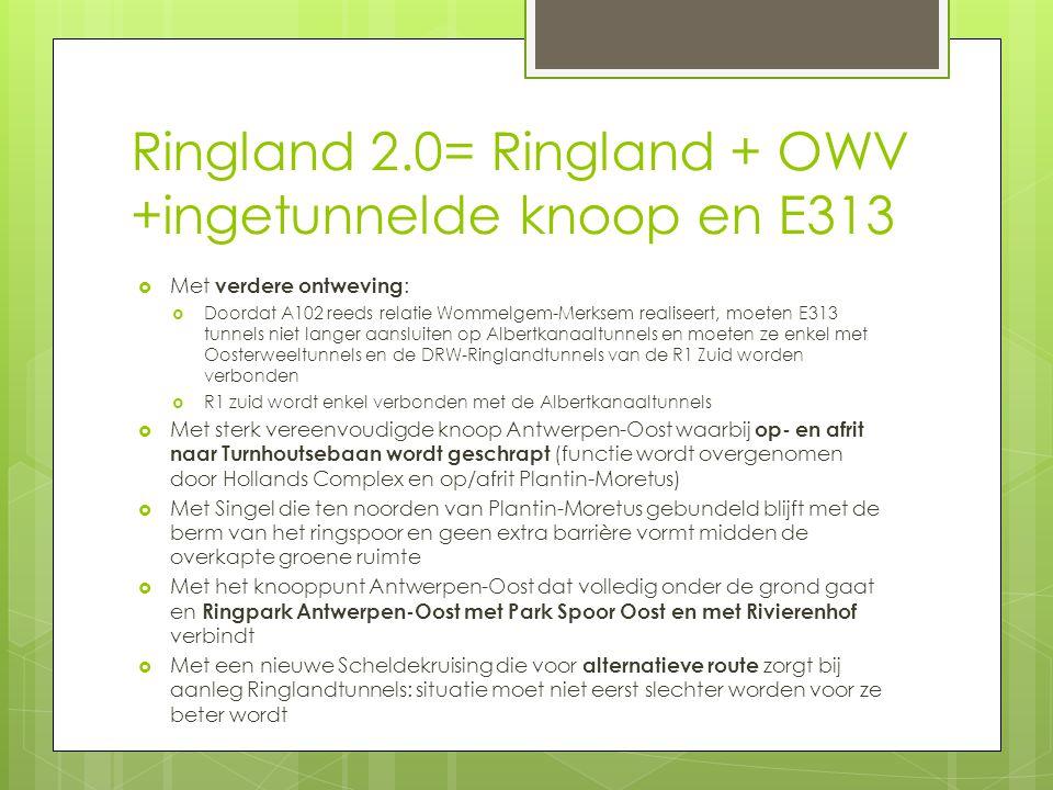 Ringland 2.0= Ringland + OWV +ingetunnelde knoop en E313  Met verdere ontweving :  Doordat A102 reeds relatie Wommelgem-Merksem realiseert, moeten E