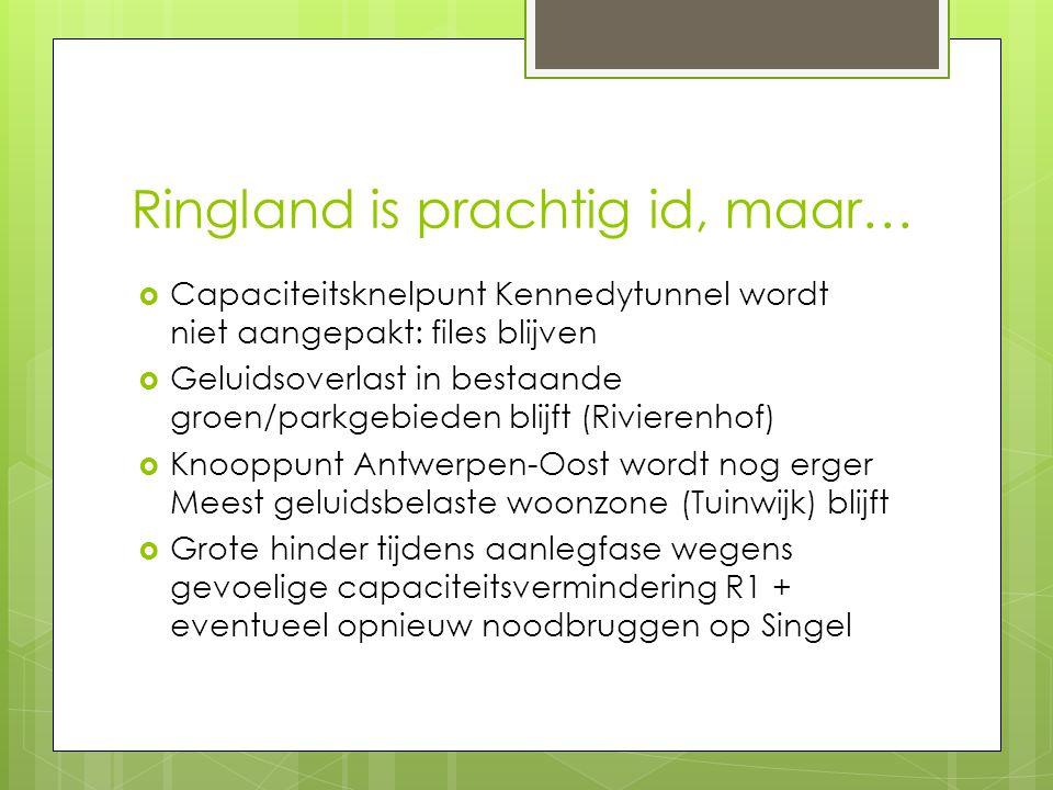 Aanvulling met intunneling Antwerpen-Oost en E313 nodig voor geluidssanering  Sterkts geluidsbelaste zone wordt met Ringland niet aangepakt  Zonder intunneling E313 en knooppunt Antwerpen-Oost blijft tuinwijk Borgerhout, Wouter Haecklaan Deurne en Rivierenhof sterk overbelast Geluidskaart Lden wegverkeer met (boven) en zonder (onder) bijdrage van Ring