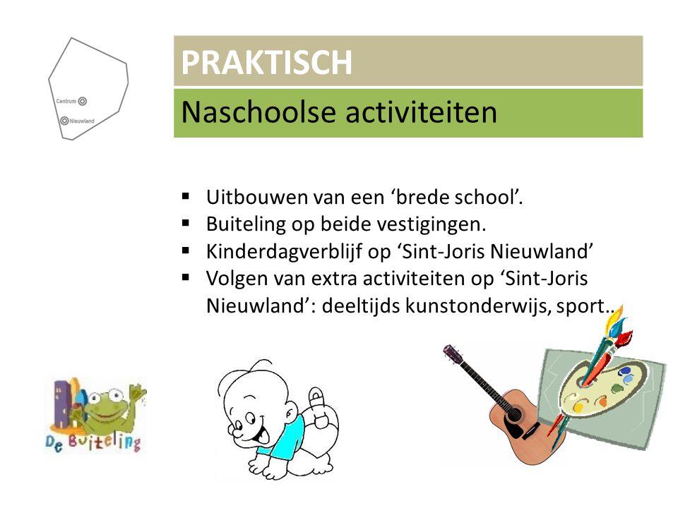 PRAKTISCH Naschoolse activiteiten  Uitbouwen van een 'brede school'.