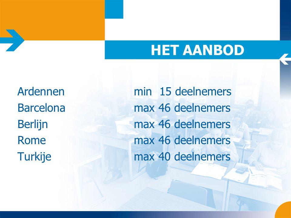HET AANBOD Ardennenmin 15 deelnemers Barcelonamax 46 deelnemers Berlijnmax 46 deelnemers Romemax 46 deelnemers Turkijemax 40 deelnemers
