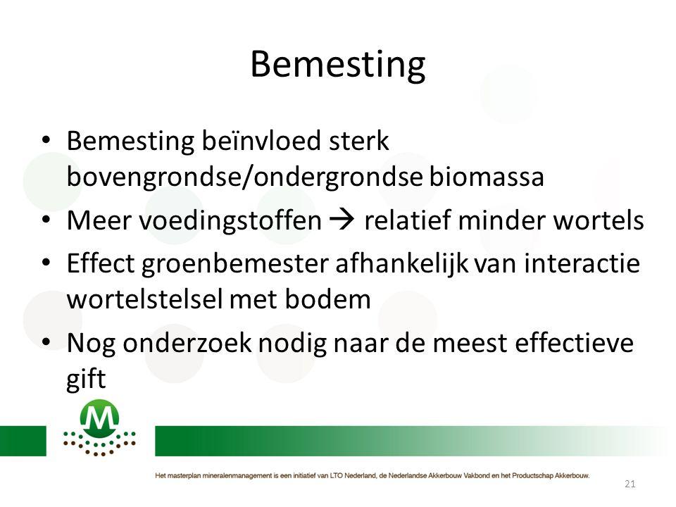 Bemesting • Bemesting beïnvloed sterk bovengrondse/ondergrondse biomassa • Meer voedingstoffen  relatief minder wortels • Effect groenbemester afhank