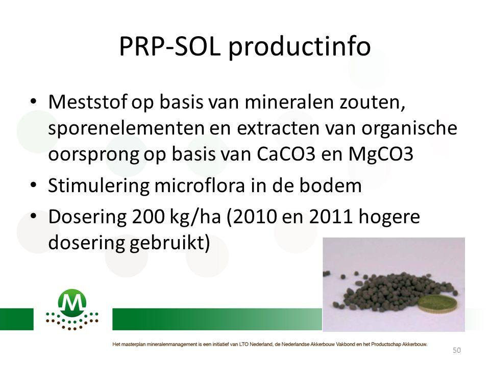 PRP-SOL productinfo • Meststof op basis van mineralen zouten, sporenelementen en extracten van organische oorsprong op basis van CaCO3 en MgCO3 • Stim
