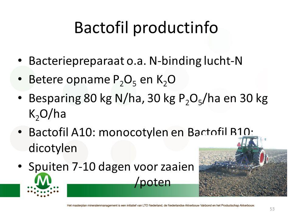 Bactofil productinfo • Bacteriepreparaat o.a. N-binding lucht-N • Betere opname P 2 O 5 en K 2 O • Besparing 80 kg N/ha, 30 kg P 2 O 5 /ha en 30 kg K