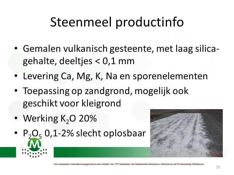 Steenmeel productinfo • Gemalen vulkanisch gesteente, met laag silica- gehalte, deeltjes < 0,1 mm • Levering Ca, Mg, K, Na en sporenelementen • Toepas