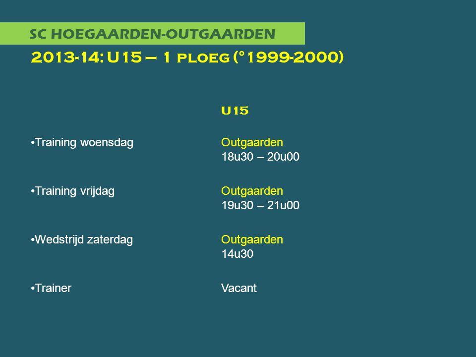 SC HOEGAARDEN-OUTGAARDEN 2013-14: U15 – 1 ploeg (°1999-2000) U15 •Training woensdagOutgaarden 18u30 – 20u00 •Training vrijdagOutgaarden 19u30 – 21u00