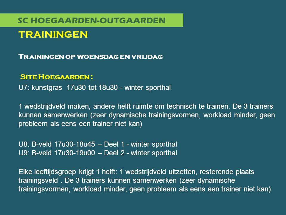 SC HOEGAARDEN-OUTGAARDEN TRAININGEN Trainingen op woensdag en vrijdag Site Hoegaarden : U7: kunstgras 17u30 tot 18u30 - winter sporthal 1 wedstrijdvel
