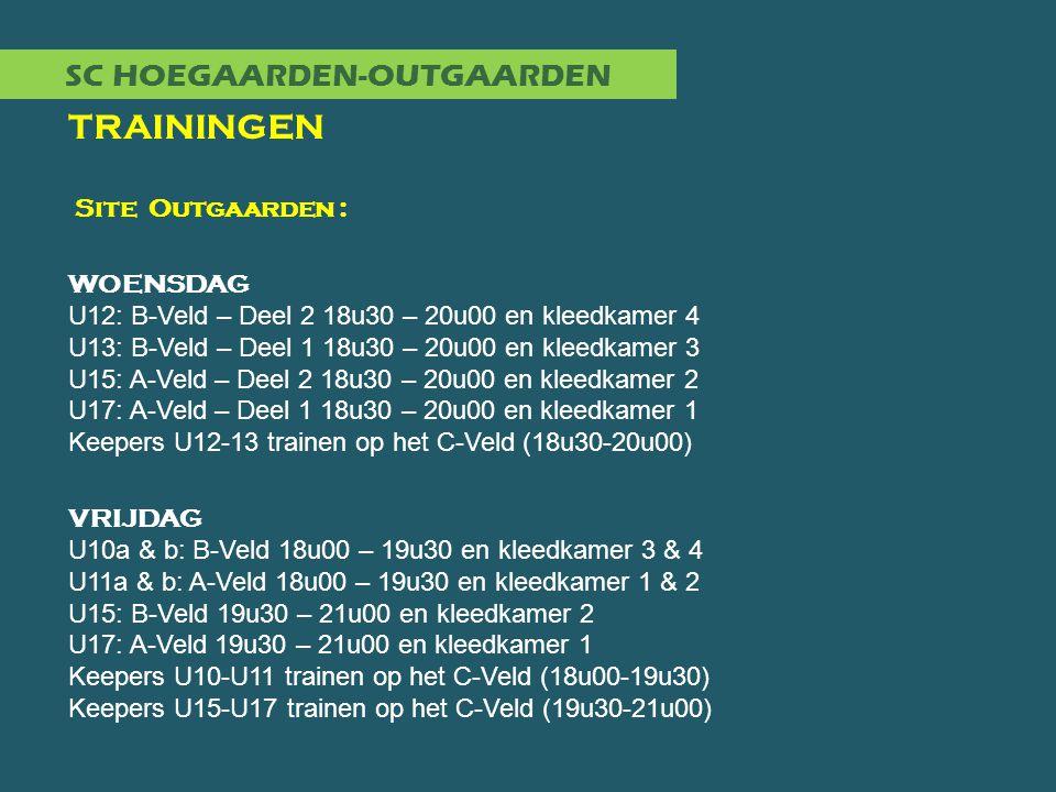 SC HOEGAARDEN-OUTGAARDEN TRAININGEN Site Outgaarden : WOENSDAG U12: B-Veld – Deel 2 18u30 – 20u00 en kleedkamer 4 U13: B-Veld – Deel 1 18u30 – 20u00 e