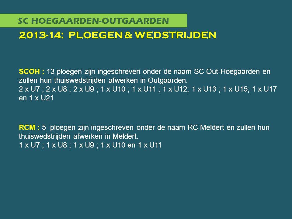 SC HOEGAARDEN-OUTGAARDEN 2013-14: PLOEGEN & WEDSTRIJDEN SCOH : 13 ploegen zijn ingeschreven onder de naam SC Out-Hoegaarden en zullen hun thuiswedstrijden afwerken in Outgaarden.