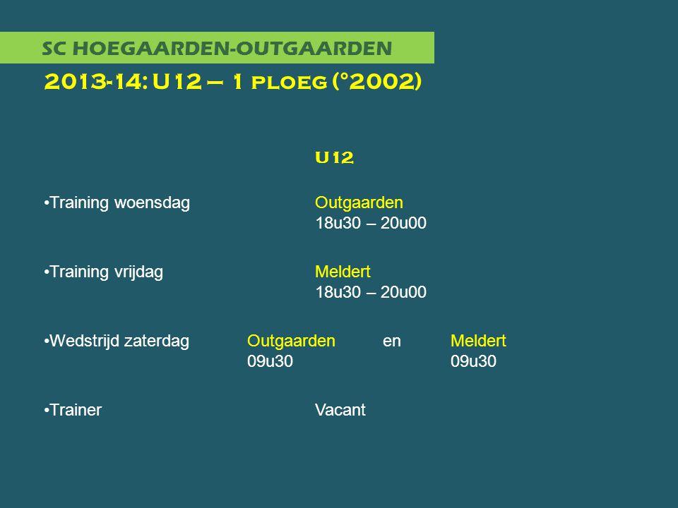 SC HOEGAARDEN-OUTGAARDEN 2013-14: U12 – 1 ploeg (°2002) U12 •Training woensdagOutgaarden 18u30 – 20u00 •Training vrijdagMeldert 18u30 – 20u00 •Wedstri