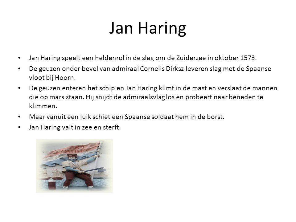 Jan Haring • Jan Haring speelt een heldenrol in de slag om de Zuiderzee in oktober 1573. • De geuzen onder bevel van admiraal Cornelis Dirksz leveren