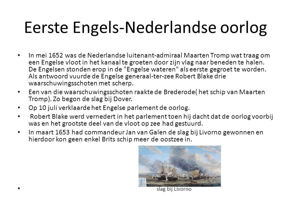 Eerste Engels-Nederlandse oorlog • In mei 1652 was de Nederlandse luitenant-admiraal Maarten Tromp wat traag om een Engelse vloot in het kanaal te gro