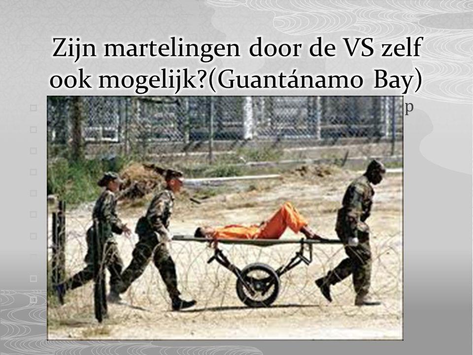  Guantánamo Bay marinebasis en gevangenkamp  Ligt aan zuidelijke deel baai  VS volledige jurisdictie en controle  Cuba recht hebbend op soevereiniteit  VS €4000,- aan pacht  Verdachten Al Qaida en taliban vasthouden  Ongeveer 250 terroristen  Mensen hebben niet recht als in VS  Daardoor kunnen zij gemarteld worden  2004: VS controle over Guantánamo Bay
