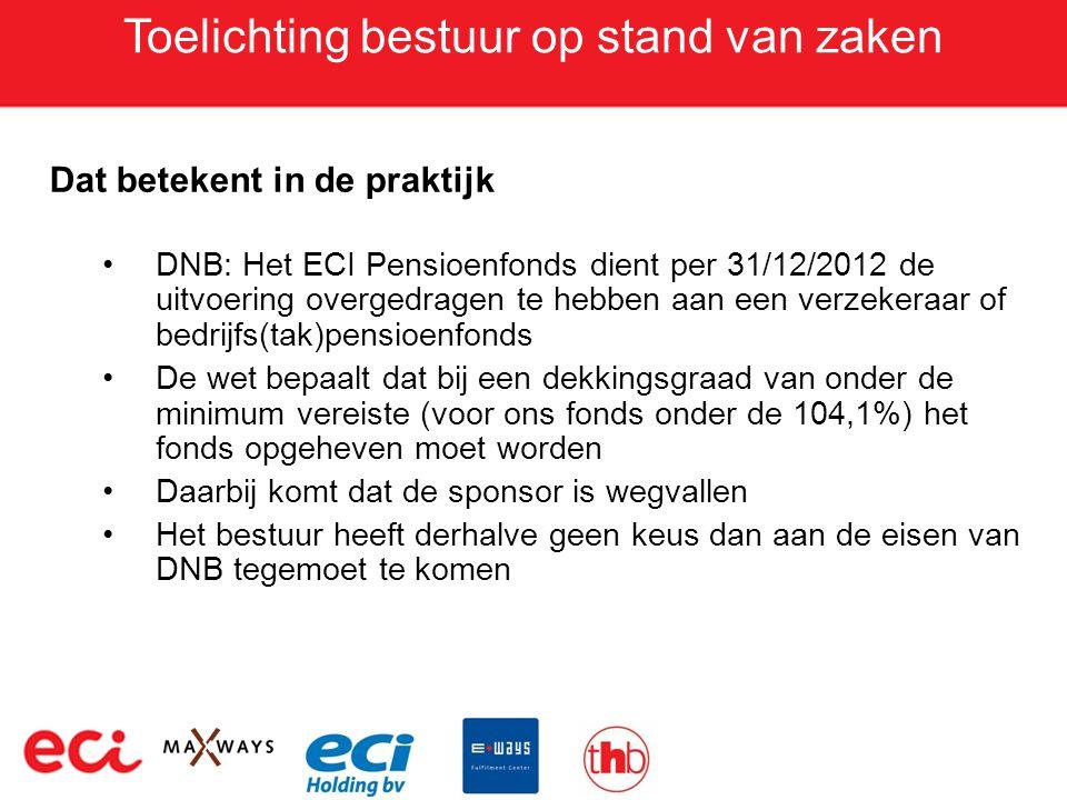 Toelichting bestuur op stand van zaken Dat betekent in de praktijk •DNB: Het ECI Pensioenfonds dient per 31/12/2012 de uitvoering overgedragen te hebb