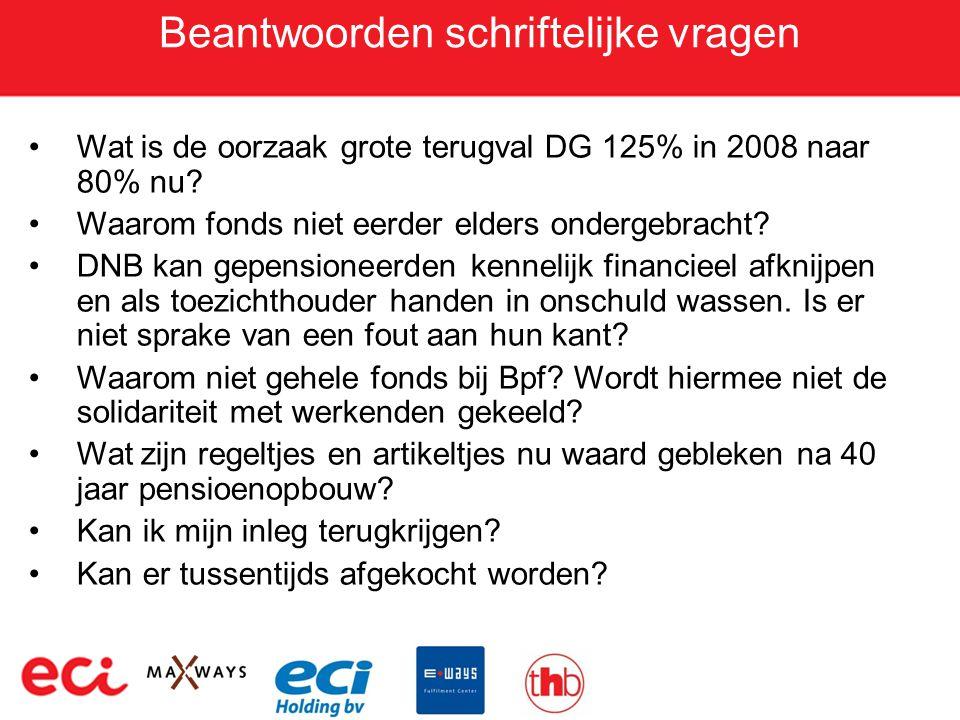 Beantwoorden schriftelijke vragen •Wat is de oorzaak grote terugval DG 125% in 2008 naar 80% nu? •Waarom fonds niet eerder elders ondergebracht? •DNB