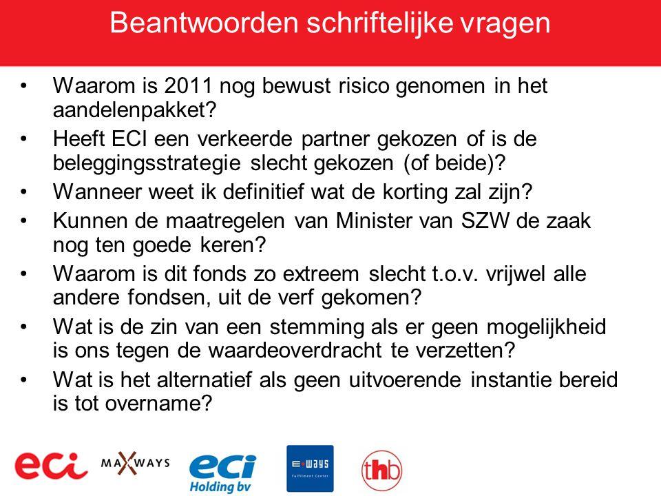 Beantwoorden schriftelijke vragen •Waarom is 2011 nog bewust risico genomen in het aandelenpakket? •Heeft ECI een verkeerde partner gekozen of is de b