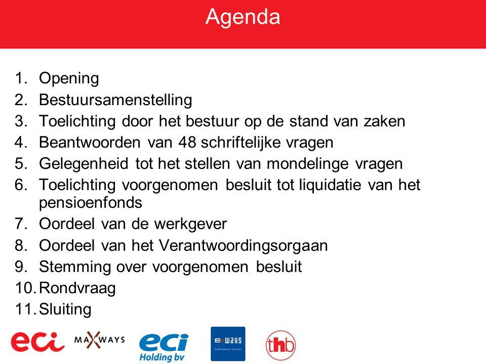 Agenda 1.Opening 2.Bestuursamenstelling 3.Toelichting door het bestuur op de stand van zaken 4.Beantwoorden van 48 schriftelijke vragen 5.Gelegenheid