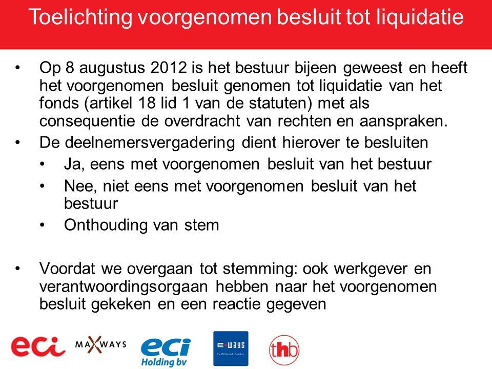 Toelichting voorgenomen besluit tot liquidatie •Op 8 augustus 2012 is het bestuur bijeen geweest en heeft het voorgenomen besluit genomen tot liquidat