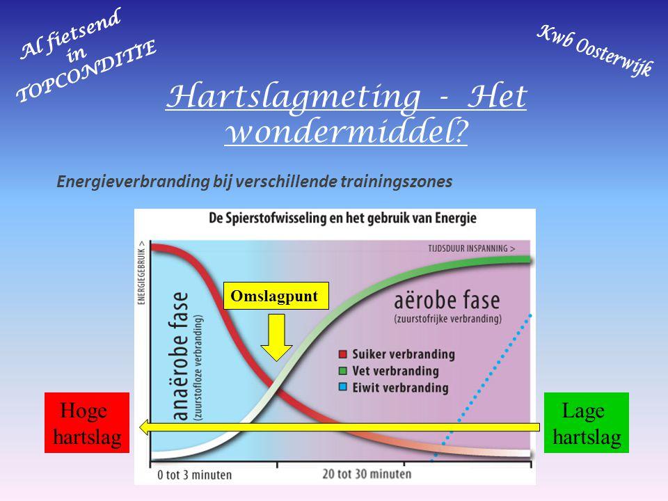 Hartslagmeting - Het wondermiddel? Energieverbranding bij verschillende trainingszones Hoge hartslag Lage hartslag Omslagpunt
