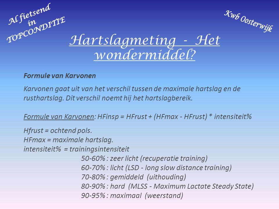 Hartslagmeting - Het wondermiddel? Formule van Karvonen Karvonen gaat uit van het verschil tussen de maximale hartslag en de rusthartslag. Dit verschi