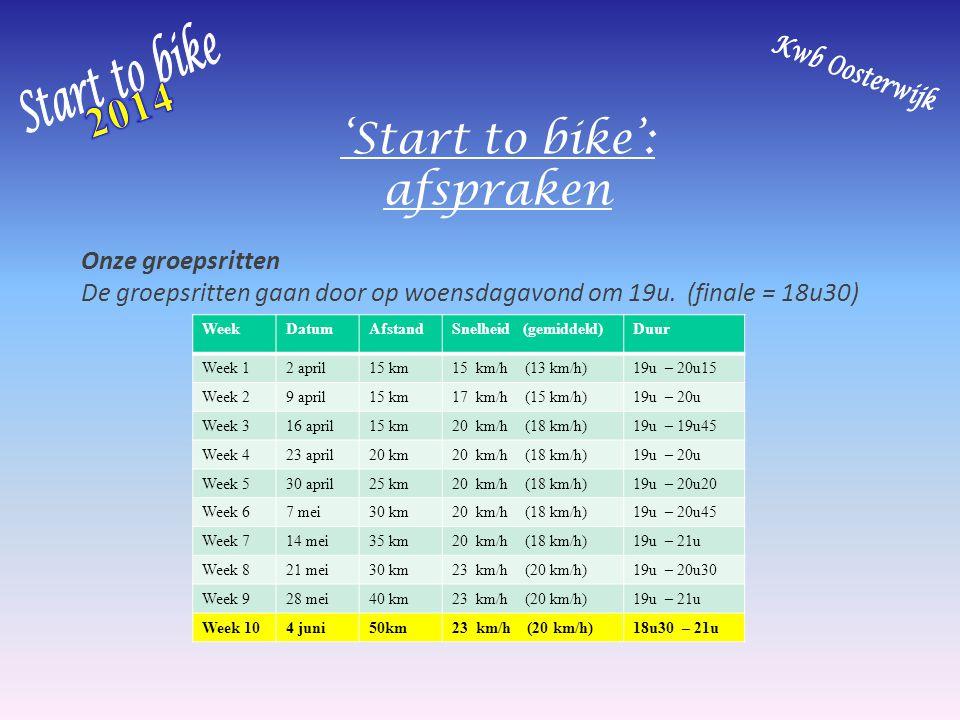 'Start to bike': afspraken Onze groepsritten De groepsritten gaan door op woensdagavond om 19u. (finale = 18u30) WeekDatumAfstandSnelheid (gemiddeld)D