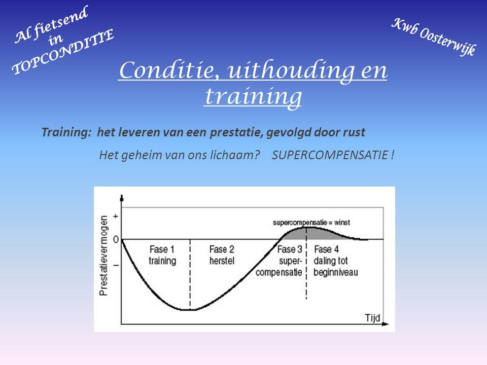 Conditie, uithouding en training Trainingsopbouw: Regelmaat tussen prestaties en rust is cruciaal .