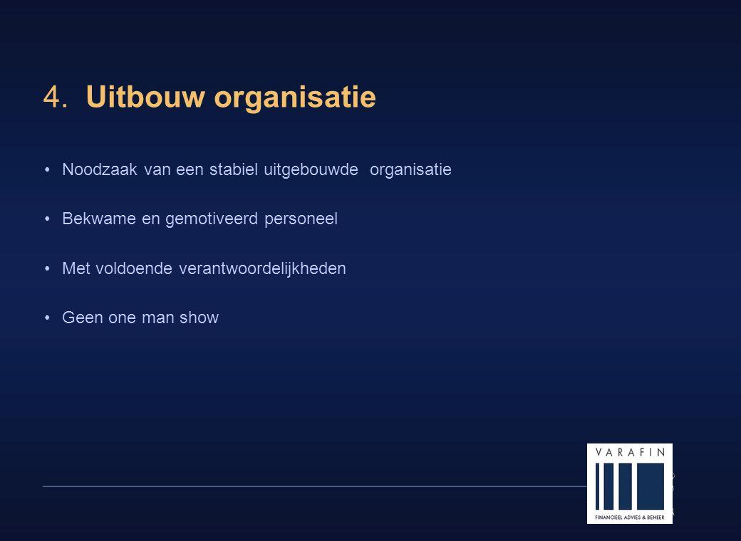 13 4. Uitbouw organisatie •Noodzaak van een stabiel uitgebouwde organisatie •Bekwame en gemotiveerd personeel •Met voldoende verantwoordelijkheden •Ge