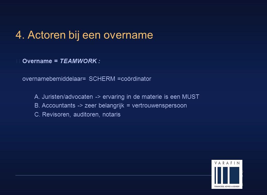 19 4. Actoren bij een overname  Overname = TEAMWORK : overnamebemiddelaar= SCHERM =coördinator A. Juristen/advocaten -> ervaring in de materie is een